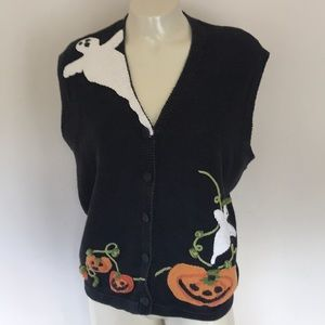Halloween Vest Ghosts and Pumpkins
